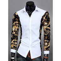 White long sleeve floral pattern print cotton dress shirt 01