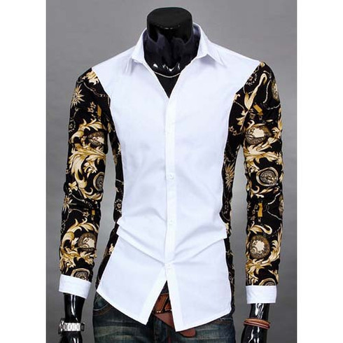 White Long Sleeve Floral Pattern Print Cotton Dress Shirt