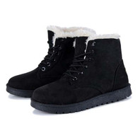 Black leather lace up wool lining snow shoe boot 01