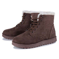 Brown leather lace up wool lining snow shoe boot 01