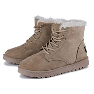 Beige leather lace up wool lining snow shoe boot 01