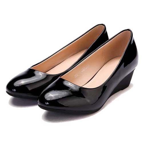 Black Plain Simple Leather Low Heel Wedge Court Shoe Free Shipping