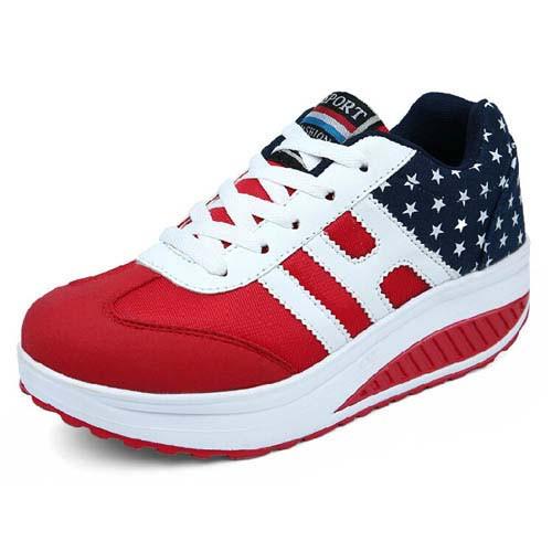 8295629578261 Red star pattern rocker bottom shoe sneaker 01