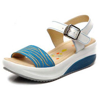 Blue pattern design buckle leather rocker bottom sandal 01