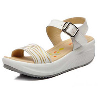Beige pattern design buckle leather rocker bottom sandal 01