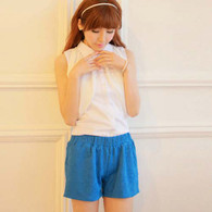 Blue flower embossing elastic waist short pant 01