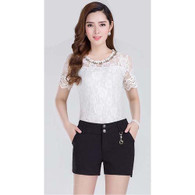 Black delicate lace slim suit style short pant 01