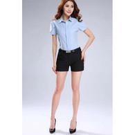 Black casual slim style short pant 01