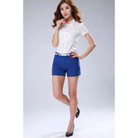 Blue casual slim style short pant 01
