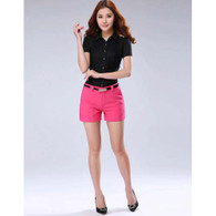 Pink casual slim style short pant 01