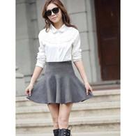 Grey high rise waistline casual knitting wool short skirt 01