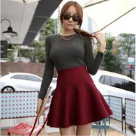 Red high rise waistline casual knitting wool short skirt 01