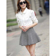 Black white Chidori check pattern casual short skirt 01