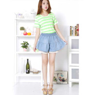 Blue lace high rise waistline denim short skirt 01