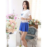 Blue casual skirt style pleated design A line short pant 01