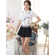 Black casual skirt style pleated design A line short pant 01