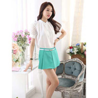 Green casual skirt style pleated design A line short pant 01