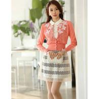 Beige hollow cut lace A line mid short skirt 01