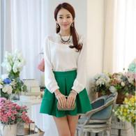 Green pleated A line high rise waistline short skirt 01