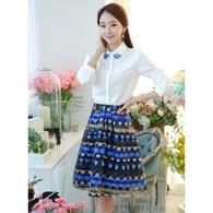 Blue abstract art pattern print A line mid short skirt 01