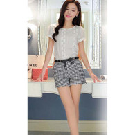 Black white check pattern High-rise waistline short pant 01