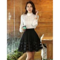 Black stripe mid length pleated short skirt 01