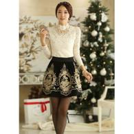 Black flower art pattern lace mid length short skirt 01