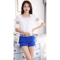 Blue casual wild suit pleated short pant 01