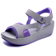 Purple leather velcro fastening rocker bottom shoe sandal 01