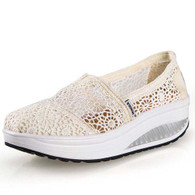 Beige lace hollow out slip on rocker bottom shoe 01