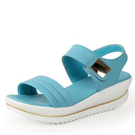 Blue leather metal velcro rocker bottom shoe sandal 01