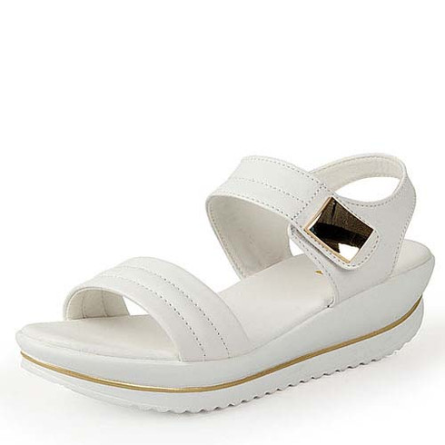 White leather metal velcro rocker bottom shoe sandal 01
