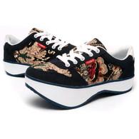 Blue art pattern negative heel rocker bottom shoe sneaker 01