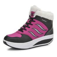 Black flame pattern winter leather rocker bottom shoe sneaker 01