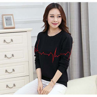 Black heartbeat print casual long sleeve sweater T shirt 01