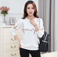 White heartbeat print casual long sleeve sweater T shirt 01