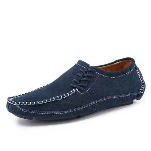 blue urban casual suede leather slip on shoe loafer  mens