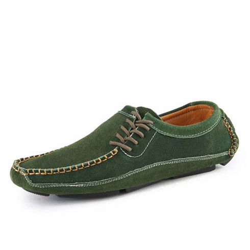 green urban casual suede leather slip on shoe loafer