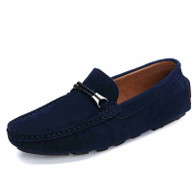 Blue twin rope leather slip on shoe loafer 01