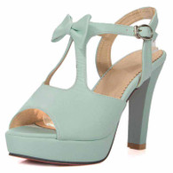 Blue butterfly buckle leather chunky heel platform sandal 01
