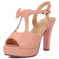 Pink butterfly buckle leather chunky heel platform sandal 01