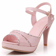 Pink leather buckle platform peep toe heel pump 01