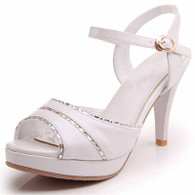 White leather buckle platform peep toe heel pump 01