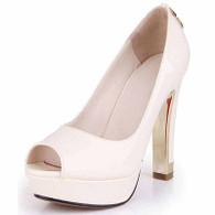 Beige leather slip on platform pump peep toe heel 01