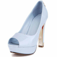 Blue leather slip on platform pump peep toe heel 01