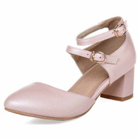 Pink double buckle strap leather slip on heel shoe sandal 01