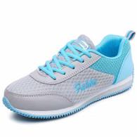 Grey blue pattern casual lace up shoe sneaker 01