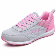 Grey pink pattern casual lace up shoe sneaker 01