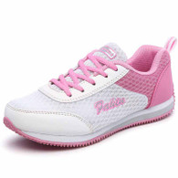 White pink pattern casual lace up shoe sneaker 01