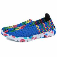 Blue multi color weave pattern slip on shoe sneaker 01